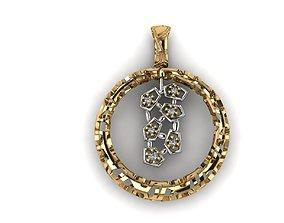 3D printable model Pendant round diamonds voronoi diagram