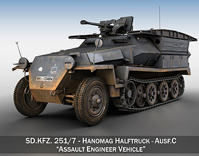SD KFZ 251 7 Ausf C Pioneer Assault bridge 3D model