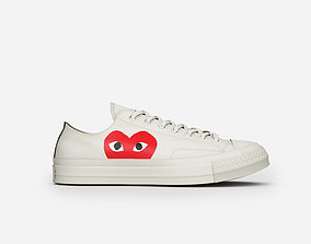 converse all stars cdg low beige 3D model