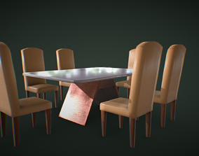 Table and Chairs 3D model low-poly PBR