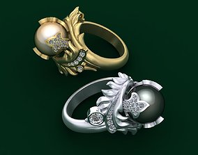 Ring with diamonds and pearl 3D print model