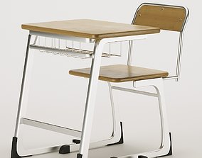 3D asset low-poly School Desk and Chair
