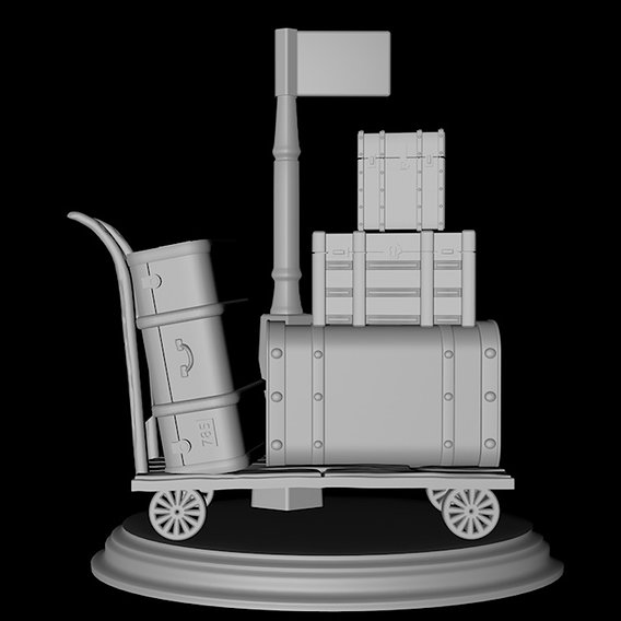Harry Potter Trunks Luggage Cart - Hogwarts Express 3D print model