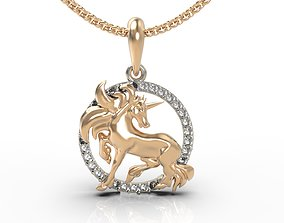 3D print model Unicorn pendant gem