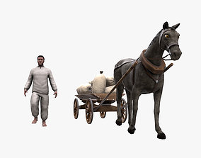 3D asset Peasant 19th century and Horse with cart and bags