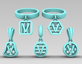 3D print model Initial letter charm with 5 5