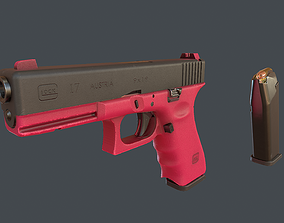 Pink Glock 17 with magazine 3D model animated