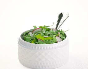 3D Salad In Porcelain Bowl