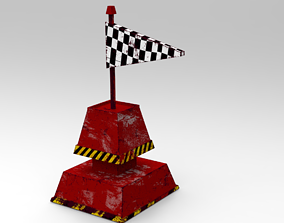 Rusty And Weathered Flag Buoy 3D model