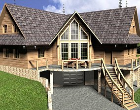 Log House with garage house 3D