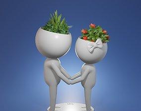 3d model Succulent plant pot Human Cartoon character