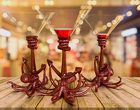 3D printable model figurines Wine glass stand Octopus