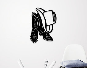 3D printable model COW BOY HAT AND SHOES WALL ART