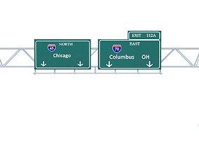 Highway Sign 01 3D asset