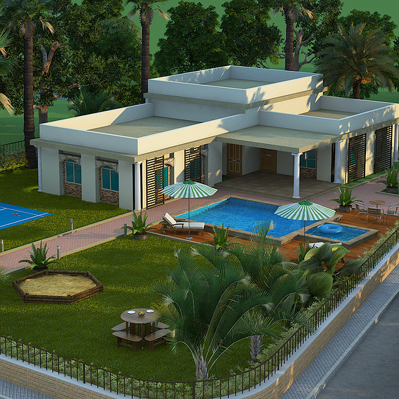 3D Exterior Design of House Rendering Services Los Angeles California