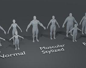 low-poly Human Body Base Mesh 10 3D Models Pack