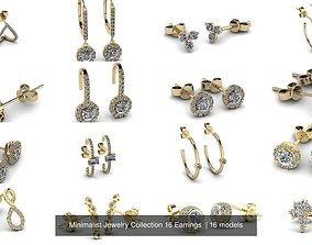 3D model Minimalist Jewelry Collection 16 Earrings