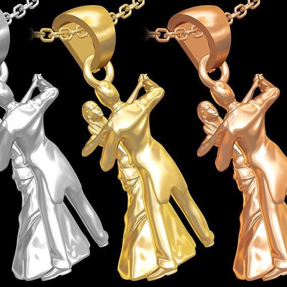 Couple Dancing Statue Sculpture pendant jewelry gold 3D print model
