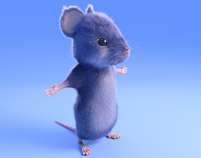 3D asset Mouse - grey - Cartoon style - rigged