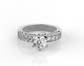Round cut engagement ring 3D print model