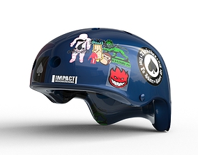 Blue Skate Helmet 3D asset