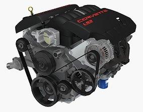 Chevrolet Corvette C6 2008 LS3 V8 engine 3D model