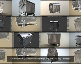 3D Old Metal Garbage Trash Container High-Poly and