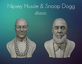 Nipsey Hussle and Snoop Dogg 3D portrait sculpture