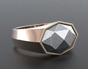 3D print model Ring with meteorite stone for men 345