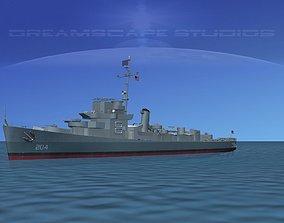 Destroyer Escort DE-204 USS Jordan 3D model