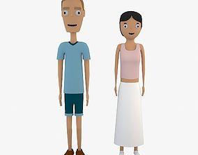 Cartoon Boy and Girl 3D model