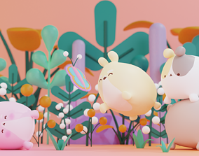Cute Hamster Character Blender Lowpoly Isometric 3D model