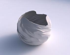 3D print model Bowl spheric wavy with fibers