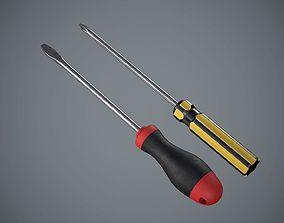 Screwdriver Set 3D asset low-poly
