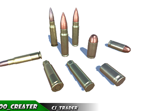 Shell-Bullets low poly 3d model VR / AR ready