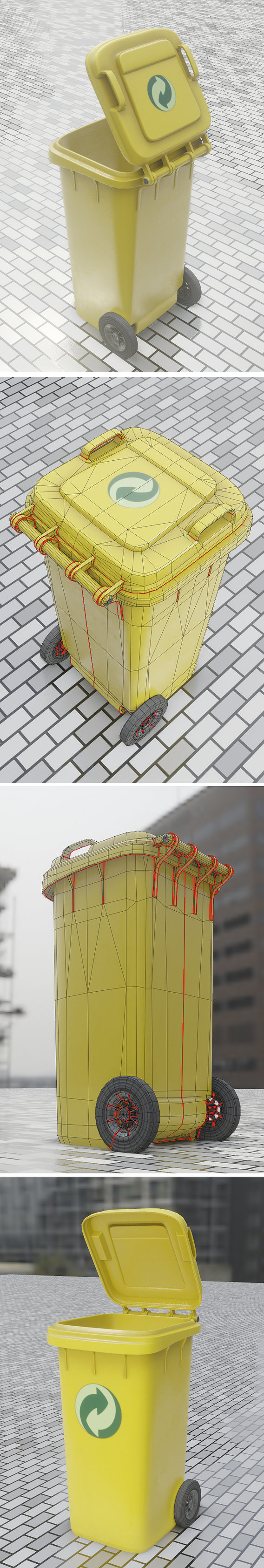 Yellow-Bin 120L Rigged Low-Poly-Version