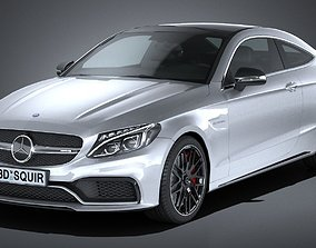 HQ LowPoly Mercedes C63 AMG Coupe 2017 3D model