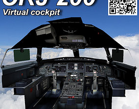 3D asset Bombardier CRJ 200 Virtual cockpit