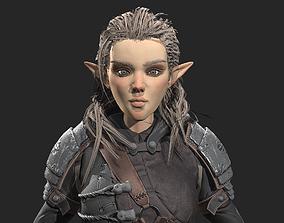 3D model low-poly Elf Archer