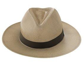 Sun Straw Fedora Hat 3D model