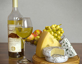 White Wine and Cheese 3D model