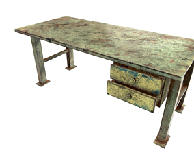 Iron table workbench tool painted 3D model