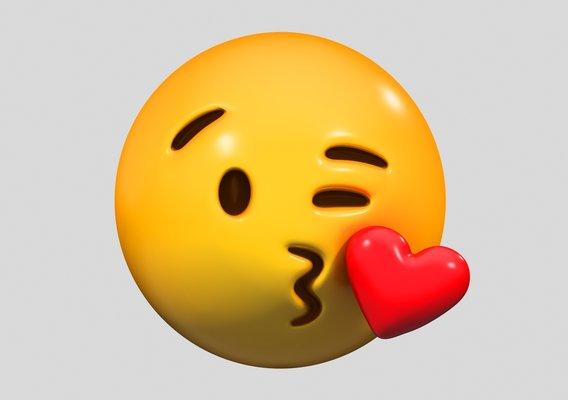 Emoji Face Blowing a Kiss 3D model