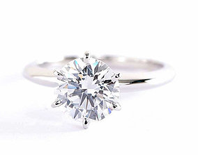 Woman Solitaire Diamond Ring 3D print model platinum