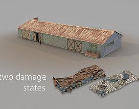 Old Garage 01 blue with damage DMG 3D asset