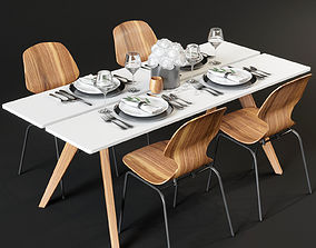 Dining table and chairs and serving 3D model
