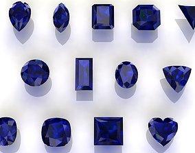 Sapphire Gem Stones pack 3D asset