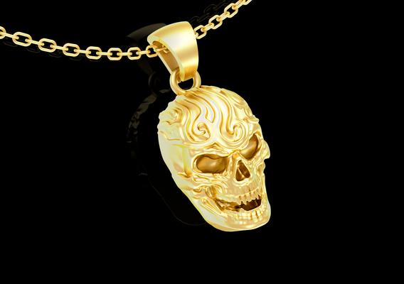 Artistic Skull Sculpture pendant jewelry gold necklace medallion 3D print model