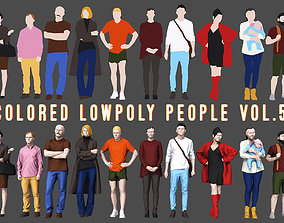 3D asset game-ready Colored Lowpoly People