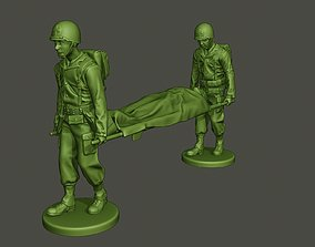 American soldiers ww2 carring stretcher 3D printable model